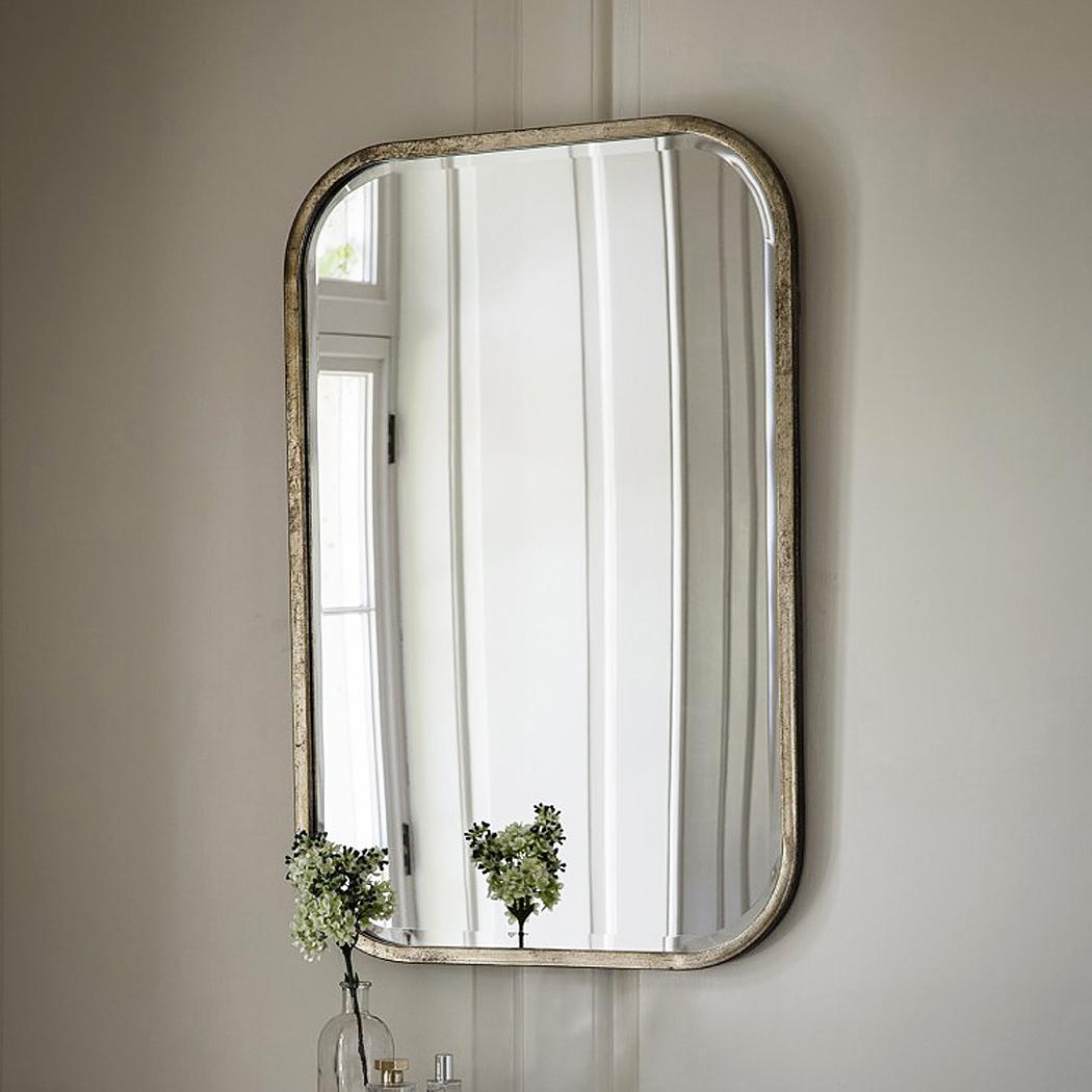 Antique Silver Wall Mirrors Regarding Most Recent Curved Rectangular Champagne Silver Wall Mirror (View 7 of 20)