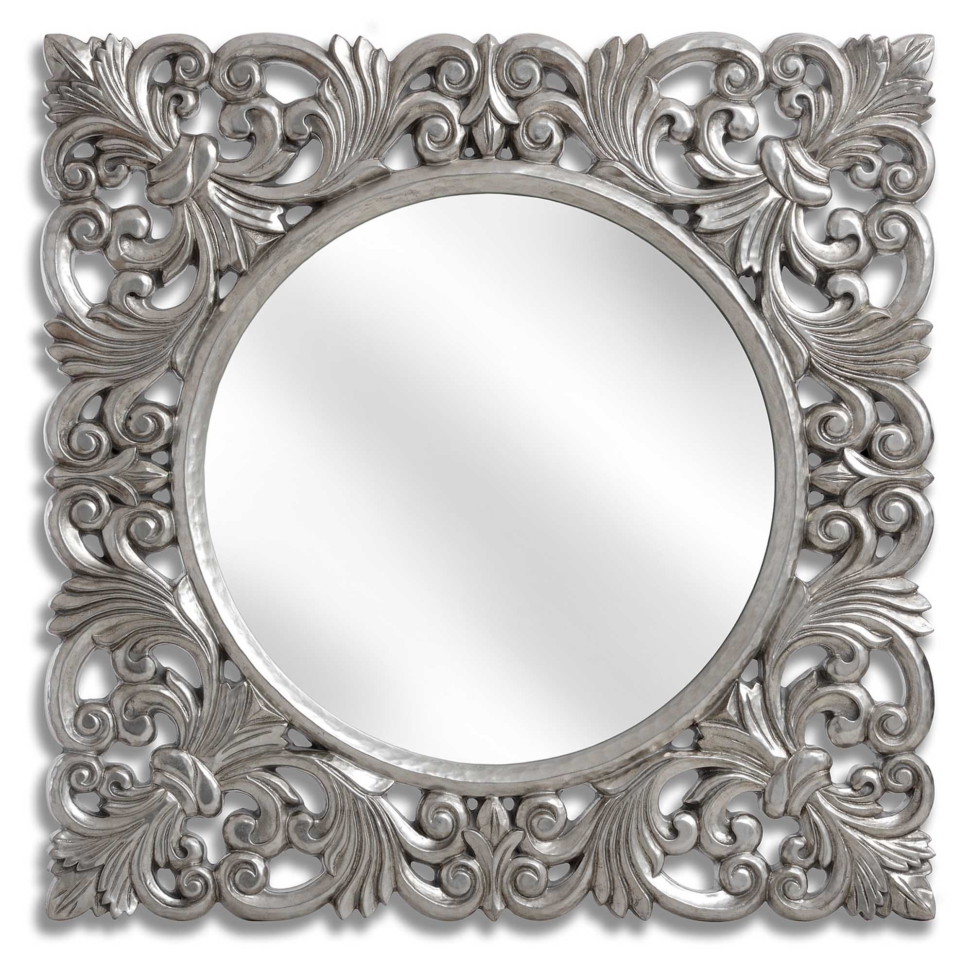 Antique Silver Wall Mirrors Within Trendy Baroque Antique French Style Silver Wall Mirror (Gallery 5 of 20)