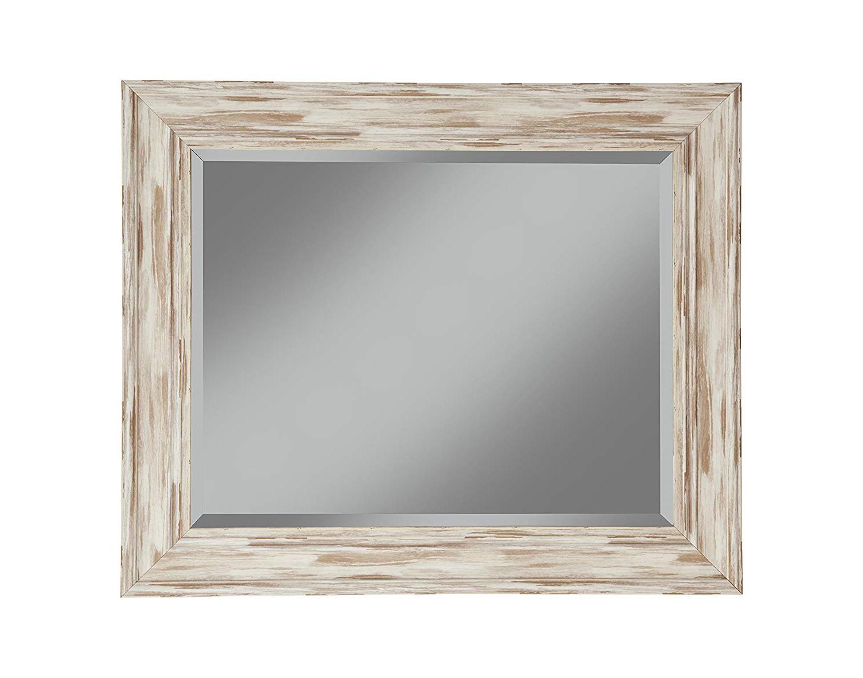 "Antique White Wall Mirrors With Regard To Well Known Sandberg Furniture Farmhouse Wall Mirror, Antique White Wash, 36"" X 30"" (View 19 of 20)"