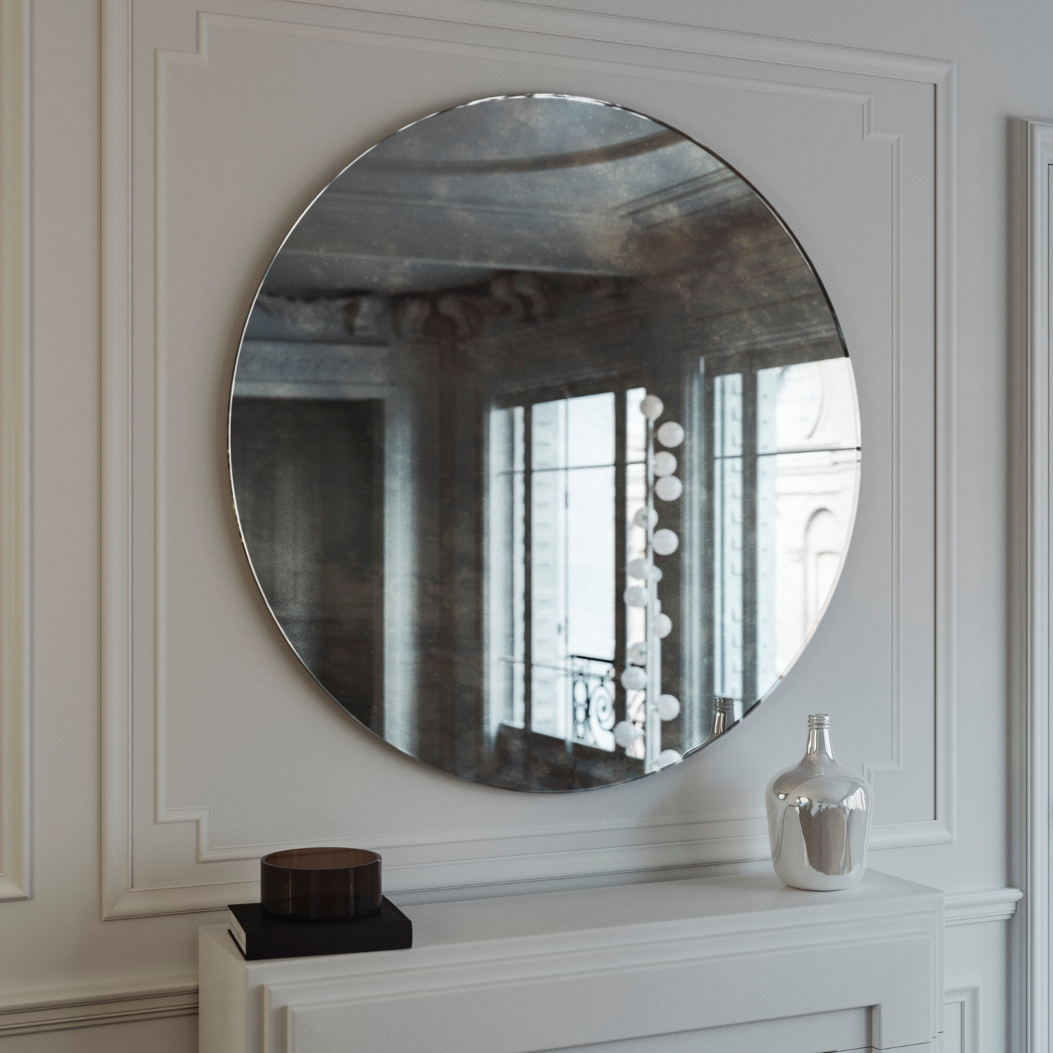 Antiqued Wall Mirrors Within Most Popular Antiqued Wall Mirror. Antiqued Glass Mirror. Custom Antiqued Glass Mirror.  Round, Frameless Hanging Wall Mirror (View 7 of 20)