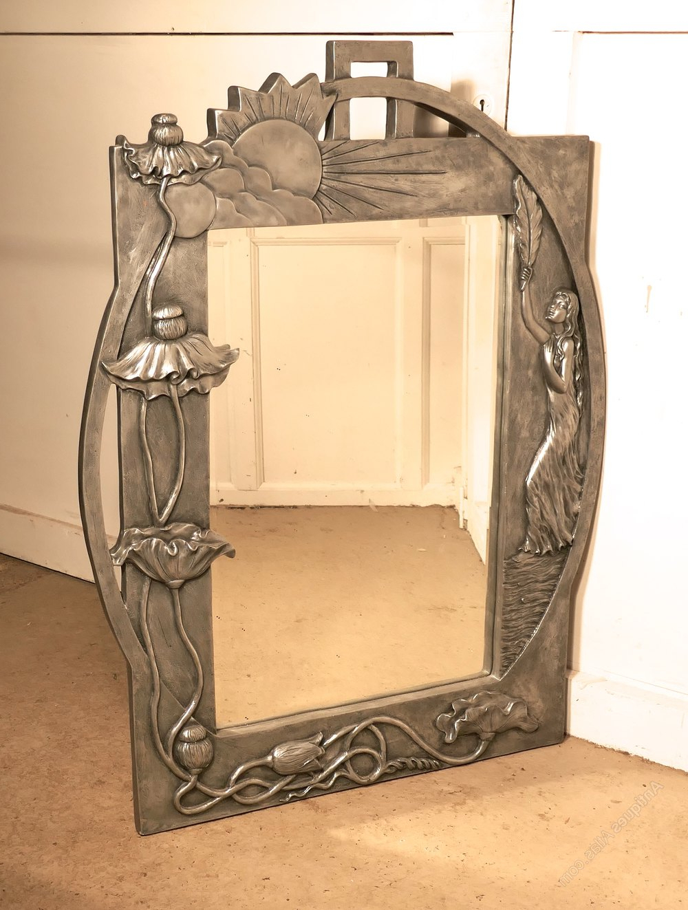 Antiques Atlas – Large Art Nouveau Style Pewter Wall Mirror Within Fashionable Art Deco Wall Mirrors (View 18 of 20)