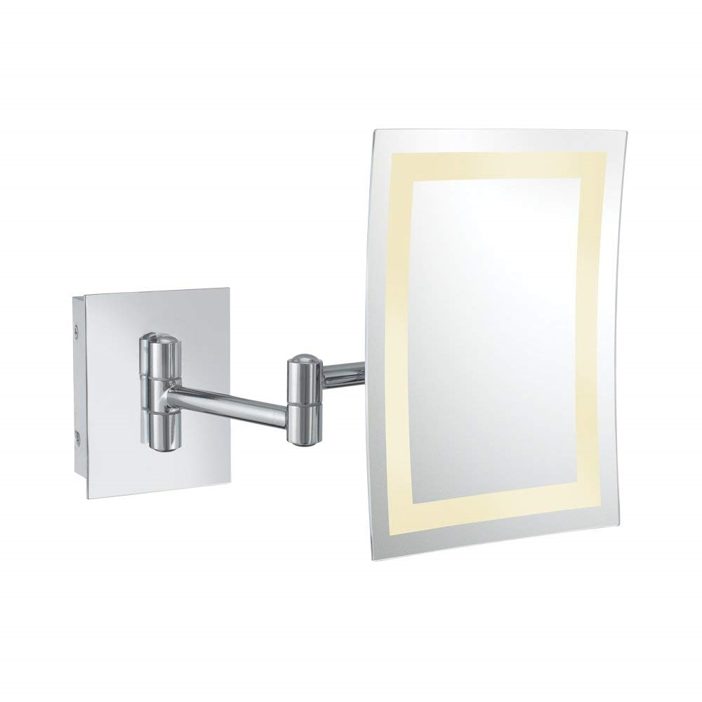 Aptations – Single Sided Led Lighted Rectangular Magnified Makeup Wall  Mirror – Chrome Throughout Latest Magnified Wall Mirrors (View 3 of 20)