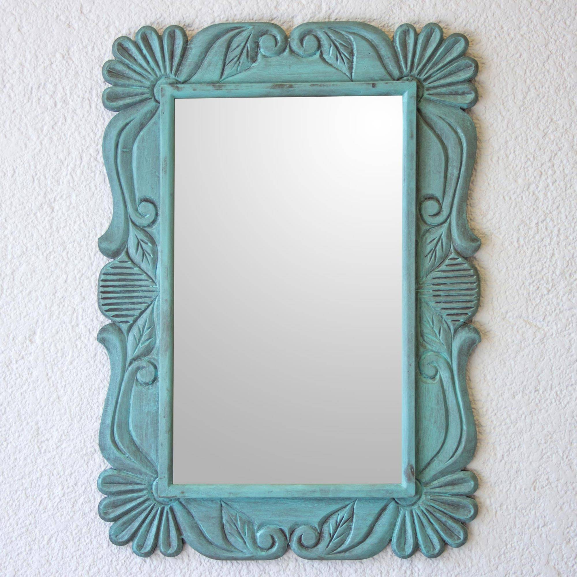 Aqua Wall Mirrors In Preferred Handcrafted Pinewood Floral Mirror In Aqua From Guatemala, 'sunflower Elegance In Aqua' (View 15 of 20)