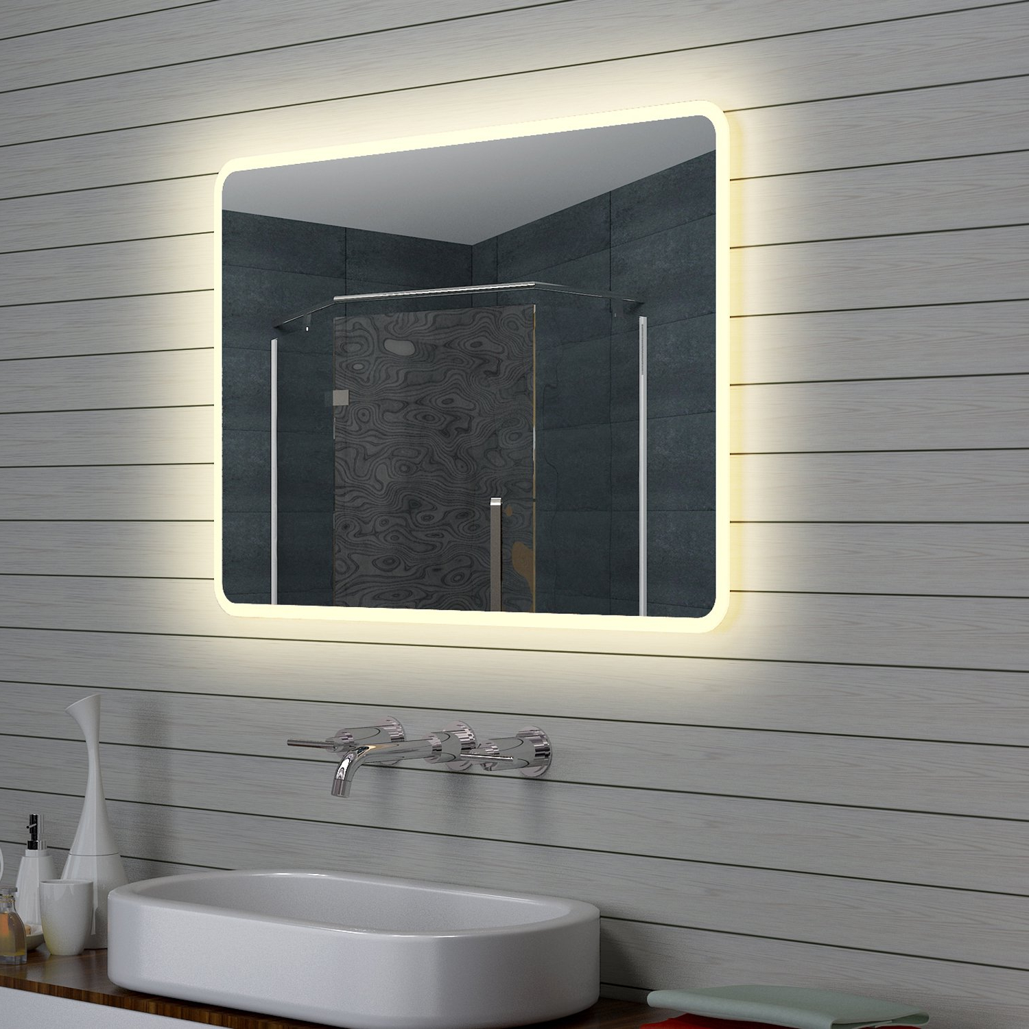 Aqua Wall Mirrors Intended For Favorite Lux Aqua Design Led Bathroom Mirror Light, Wall Mirror, 100 X 70 Cm (View 12 of 20)