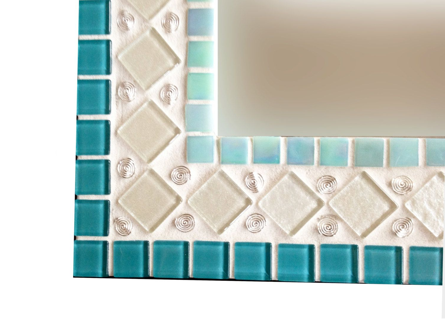 Aqua Wall Mirrors With Regard To Newest Teal, Aqua, White, Silver Wall Mirror // Mixed Media Mosaic (View 14 of 20)