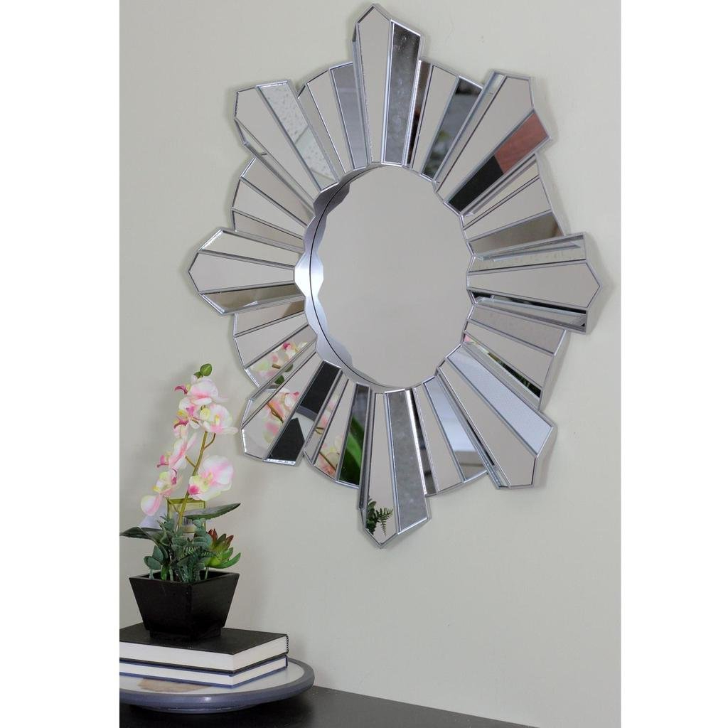 Arambula Sparkling Sunburst Wave Round Wall Mirror In Most Recently Released Estrela Modern Sunburst Metal Wall Mirrors (View 5 of 20)