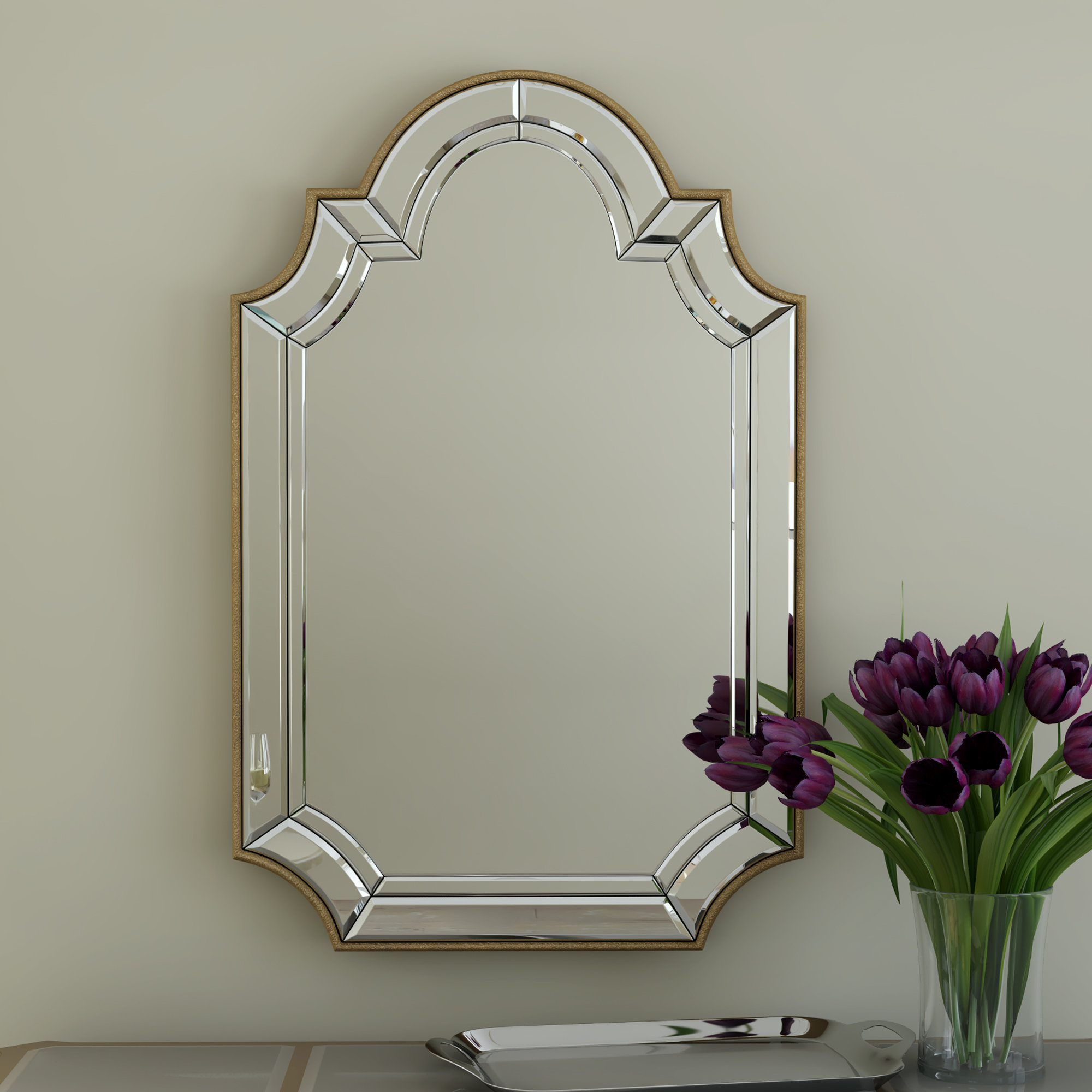 Arch/crowned Top Champagne Wall Mirror With 2019 Dariel Tall Arched Scalloped Wall Mirrors (View 2 of 20)
