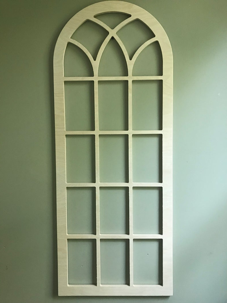 Arched Wood Wall Decor, Faux Window Frame, Arched, Stained, Custom Arch, Shabby Chic, Wall Hanging Wall Decor, Shutter, Vintage Inspired 45H Inside 2019 Faux Window Wood Wall Mirrors (Gallery 7 of 20)