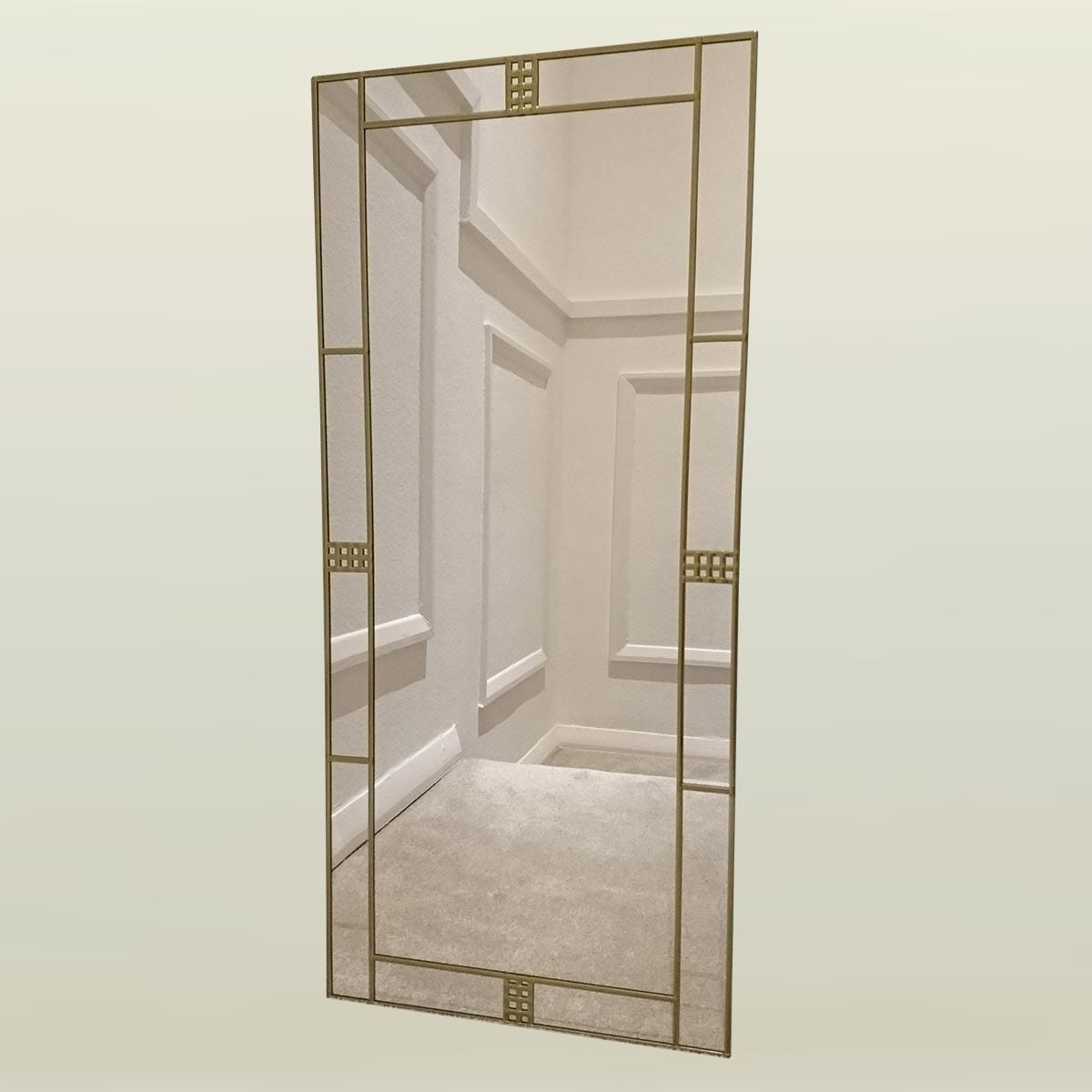 Art Deco Wall Mirrors In Famous Art Deco Brass Wall Mirror 50x91cm (20in X 3ft) (View 9 of 20)