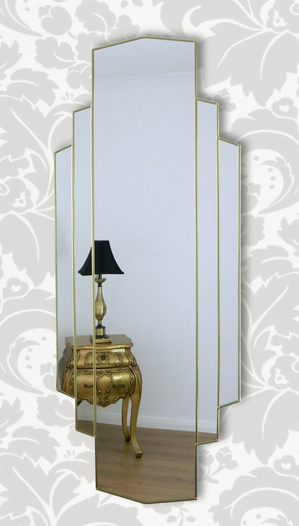 Art Deco Wall Mirrors Throughout Trendy Metro Original Handcrafted Full Length Wall Mirror In Gold (View 3 of 20)