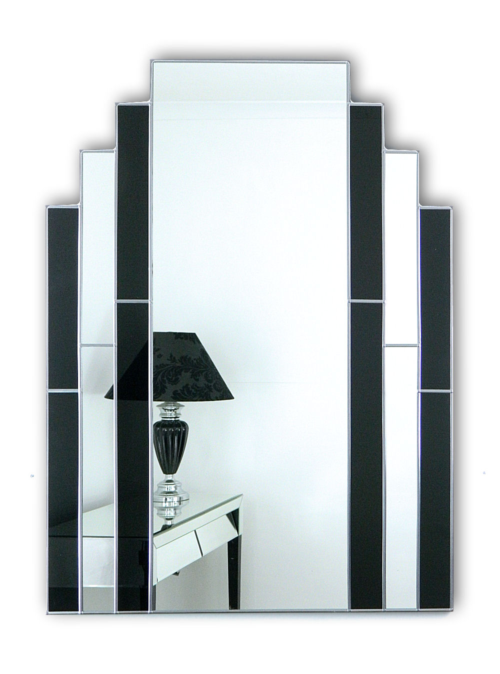 Art Deco Wall Mirrors With Favorite Classic Black Original Handcrafted Art Deco Wall Mirror With Silver Trim (View 17 of 20)