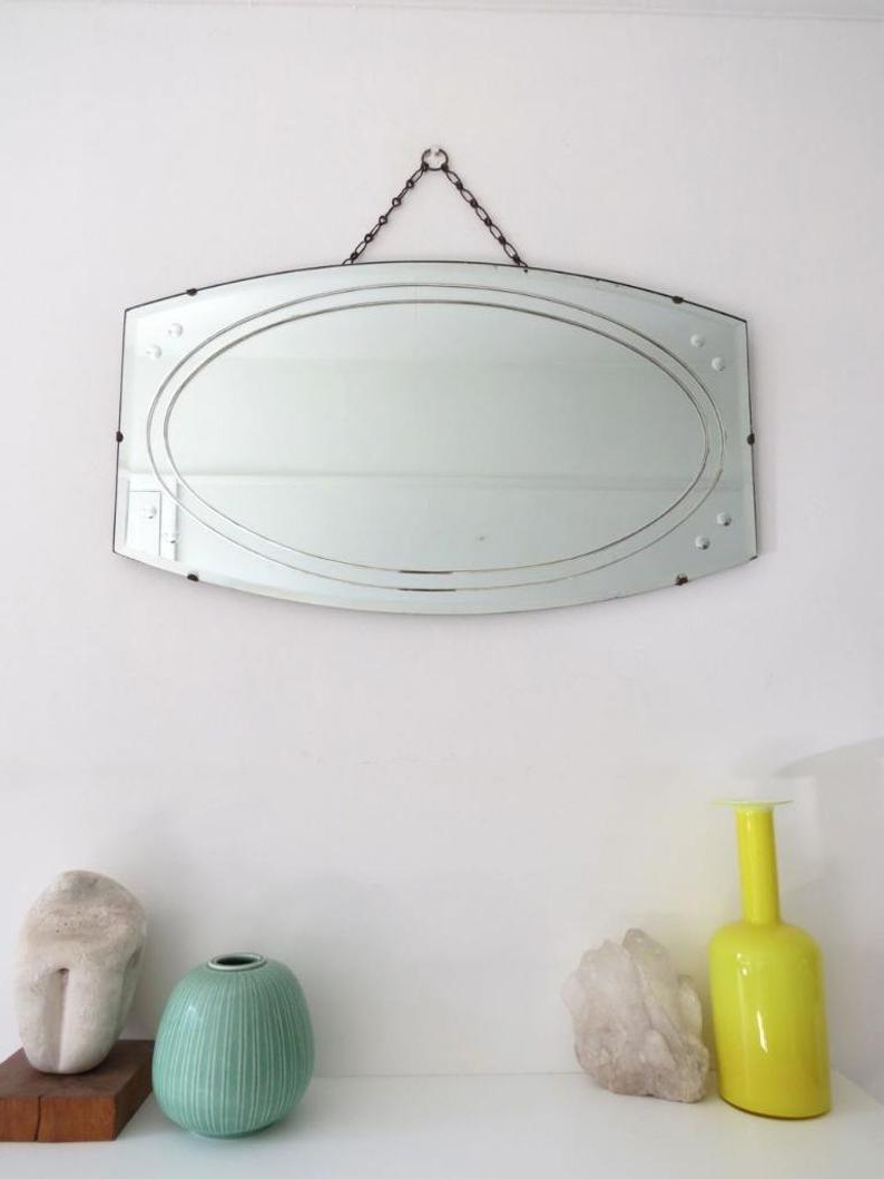 Art Deco Wall Mirrors With Most Popular Vintage Art Deco Wall Mirror (View 13 of 20)