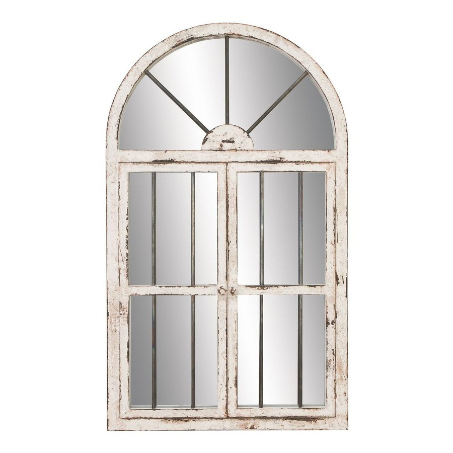 Aspire Home Accents 42 In L X 25 In W Distressed White Polished Arch For Most Current Distressed Wall Mirrors (View 2 of 20)