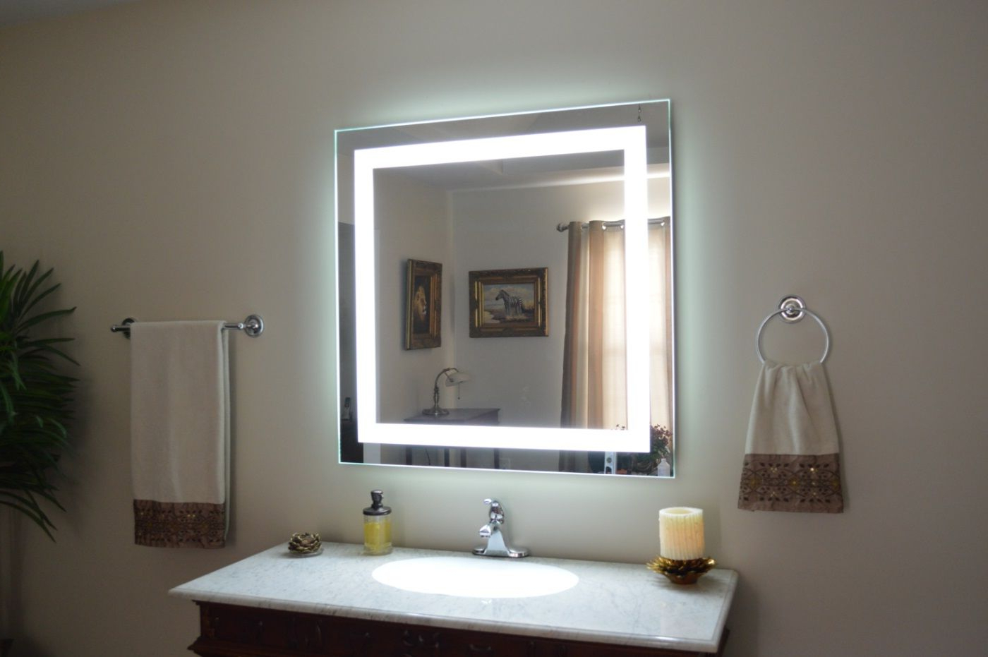 Astonishing Beveled Wall Mirror Bathroom Lights Cabinet Pertaining To Recent Light Wall Mirrors (View 6 of 20)