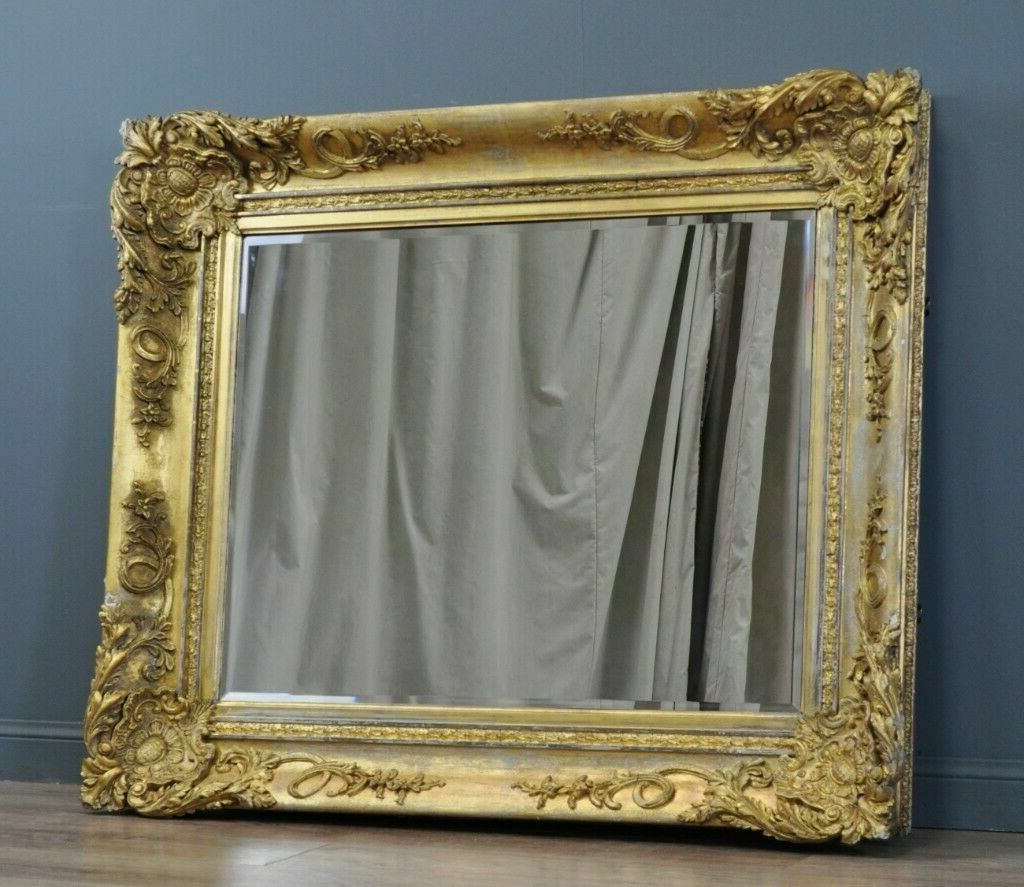 Attractive Large Antique Victorian Gilt Wood Wall Mirror (View 6 of 20)