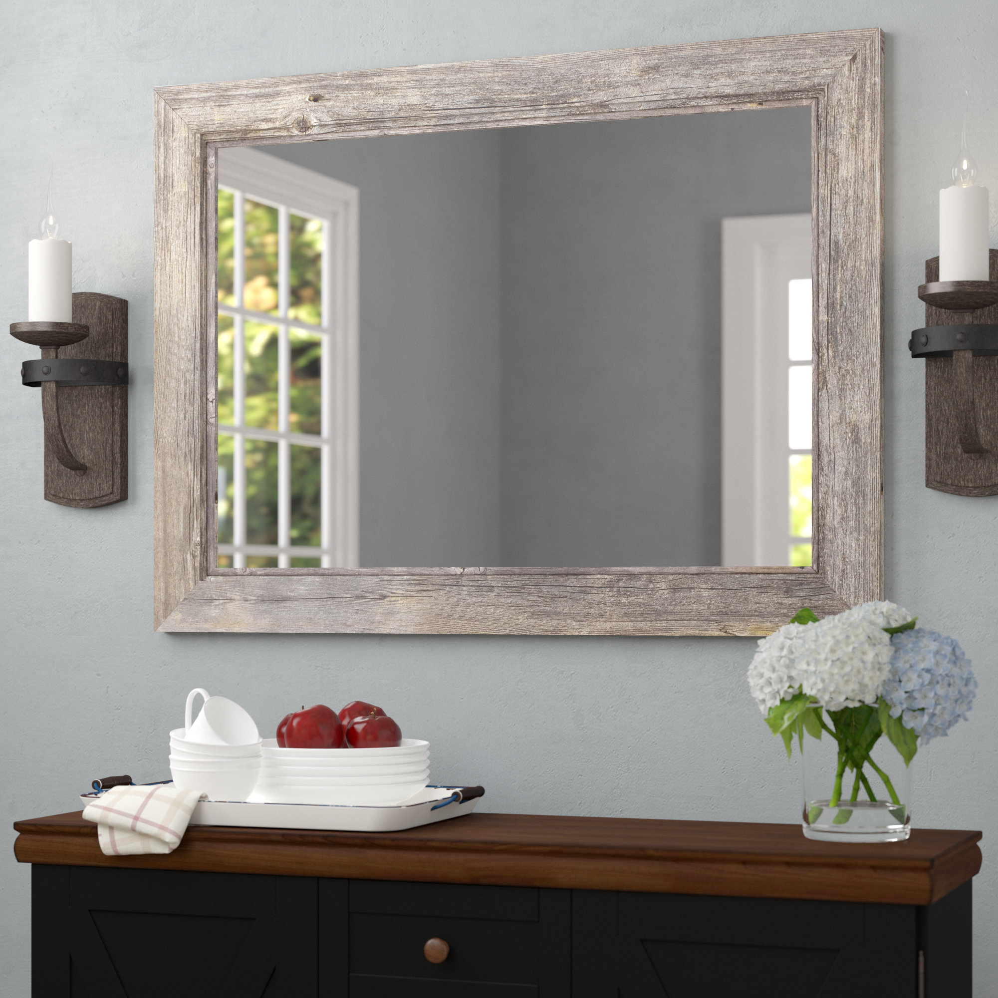 August Grove Traditional Beveled Accent Mirror For Most Recent Hogge Modern Brushed Nickel Large Frame Wall Mirrors (View 7 of 20)
