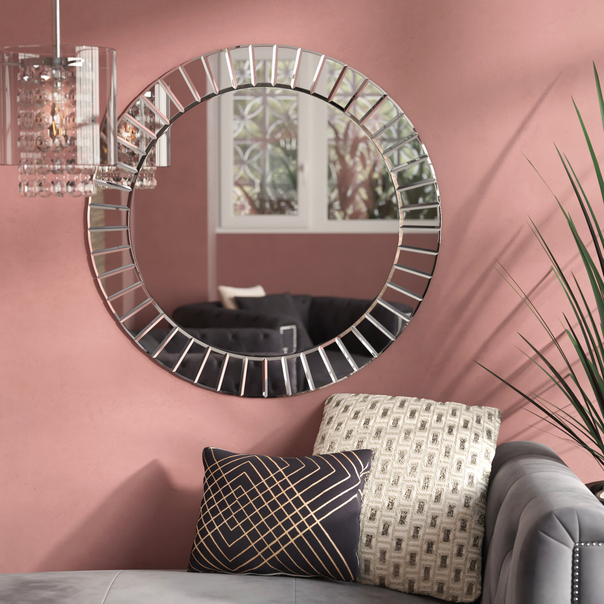 Avanley Round Modern & Contemporary Beveled Accent Mirror With Most Recently Released Lidya Frameless Beveled Wall Mirrors (View 5 of 20)