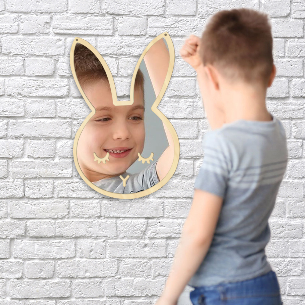 Baby Wall Mirrors Inside Most Current Details About Bunny Rabbit Decorative Baby Kids Room Nursery Decor Acrylic Safety Wall Mirror (View 14 of 20)