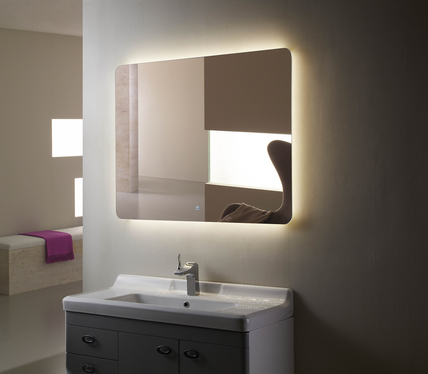 Backlit Mirror Led Bathroom Mirror Montana Iii In Most Recent Backlit Bathroom Wall Mirrors (View 7 of 20)