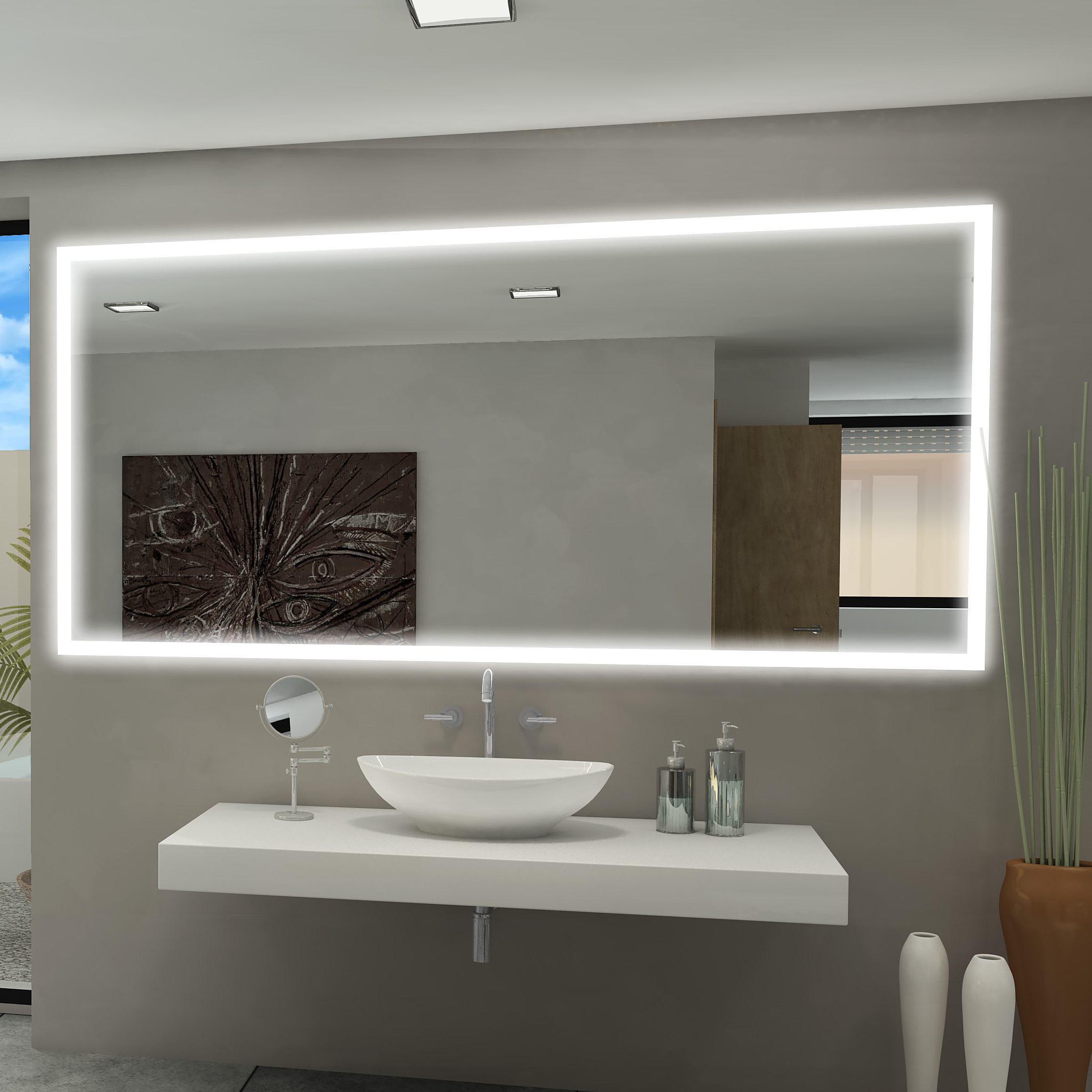 Backlit Wall Mirrors Inside Most Popular Rectangle Backlit Bathroom/vanity Wall Mirror (View 17 of 20)