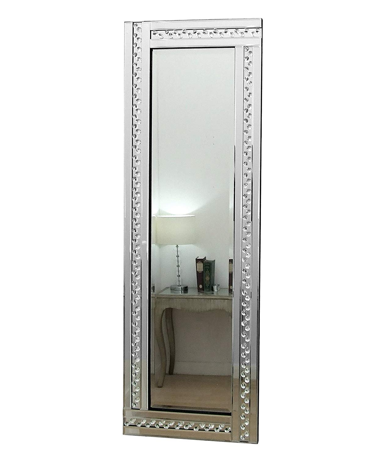 "Barcelona Trading Glitz Crystal Long Silver Glass Framed Full Length Bevelled Wall Mirror 48"" X 16"" Within Preferred Framed Full Length Wall Mirrors (View 8 of 20)"