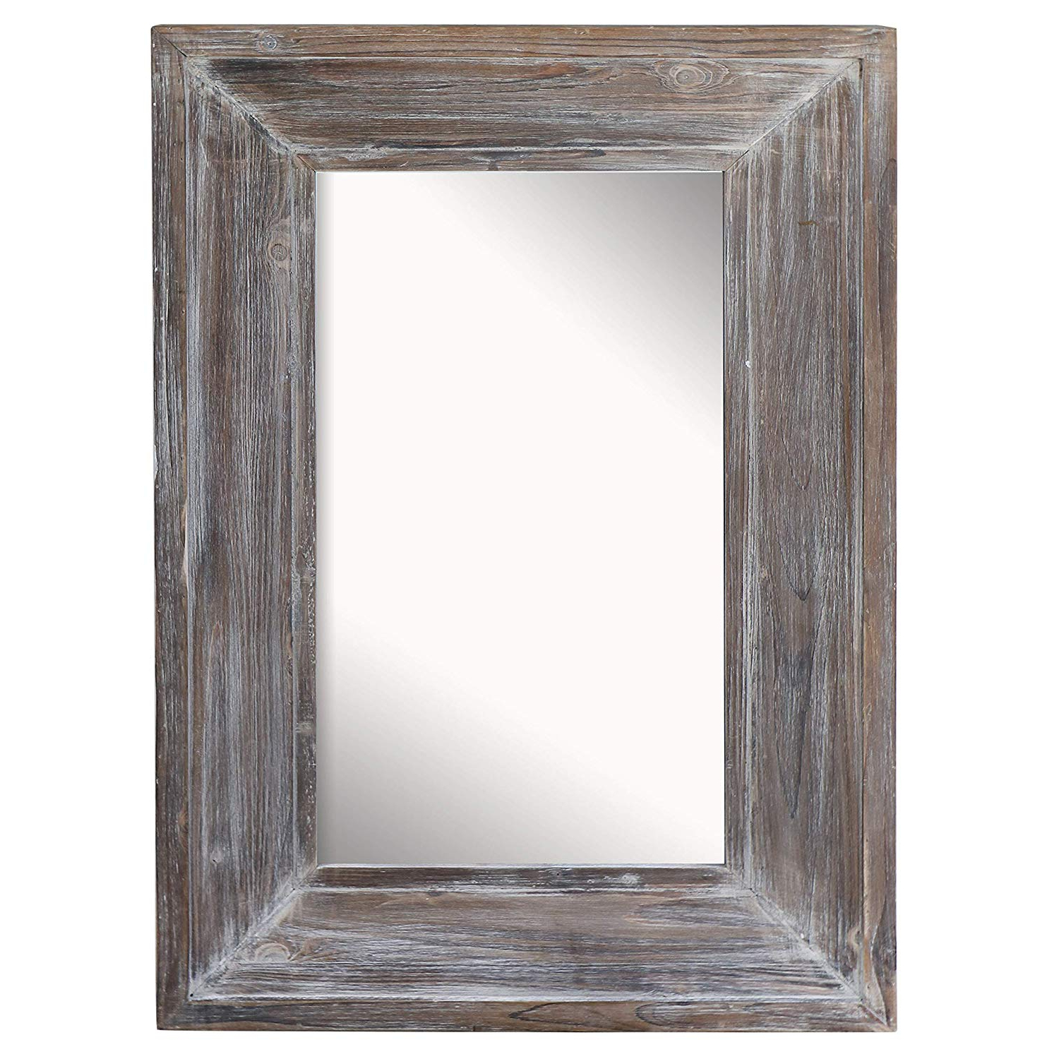 """Barnyard Designs Decorative Wall Mirror Rustic Distressed Natural Wood Frame Vertical Hanging Mirror Wall Decor 36"""" X 24"""" Throughout Well Liked Rectangle Antique Galvanized Metal Accent Mirrors (View 9 of 20)"""
