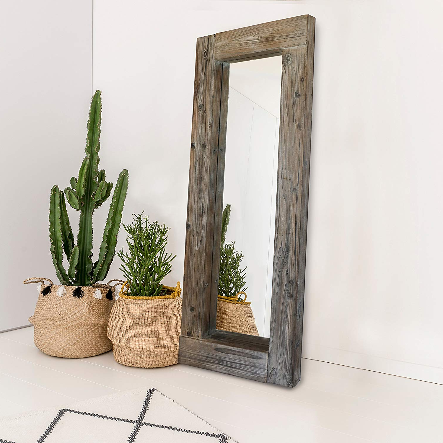 """Barnyard Designs Long Decorative Wall Mirror, Rustic Distressed Unfinished Wood Frame, Vertical And Horizontal Hanging Mirror Wall Decor 58"""" X 24"""" Pertaining To Widely Used Horizontal Decorative Wall Mirrors (View 8 of 20)"""