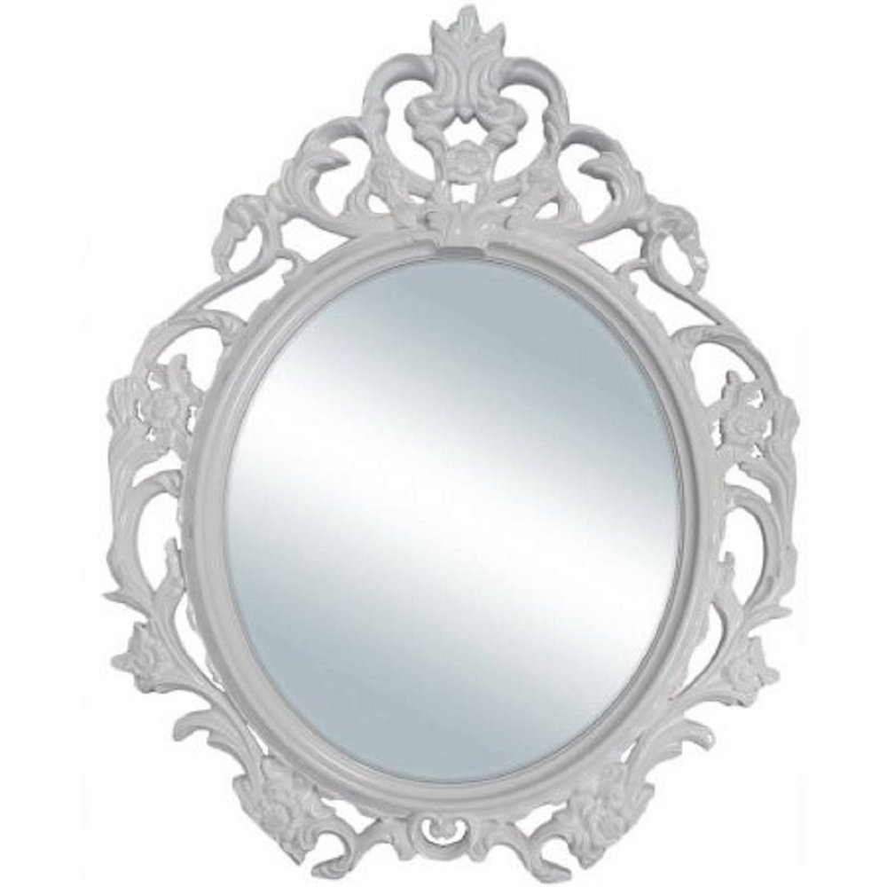 Baroque Wall Mirrors Inside Newest Amazon: Baroque Style Oval Wall Mirror In (White): Home & Kitchen (View 4 of 20)