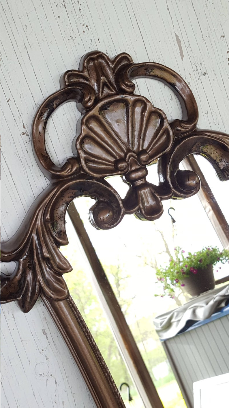Baroque Wall Mirrors Regarding Newest Large Distressed Baroque Wall Mirror/ Hollywood Regency Mirror/ Ornate  Mirror/baroque Mirror/ Bathroom Mirror/ Nursery Mirror/ Patina (View 5 of 20)