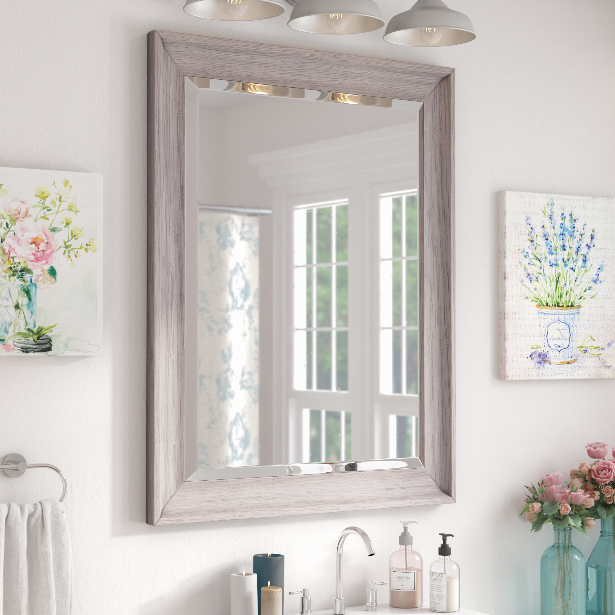 Bartouille Transitional Driftwood Beveled Bathroom/vanity Wall Mirror For Popular Vanity Wall Mirrors For Bathroom (View 7 of 20)