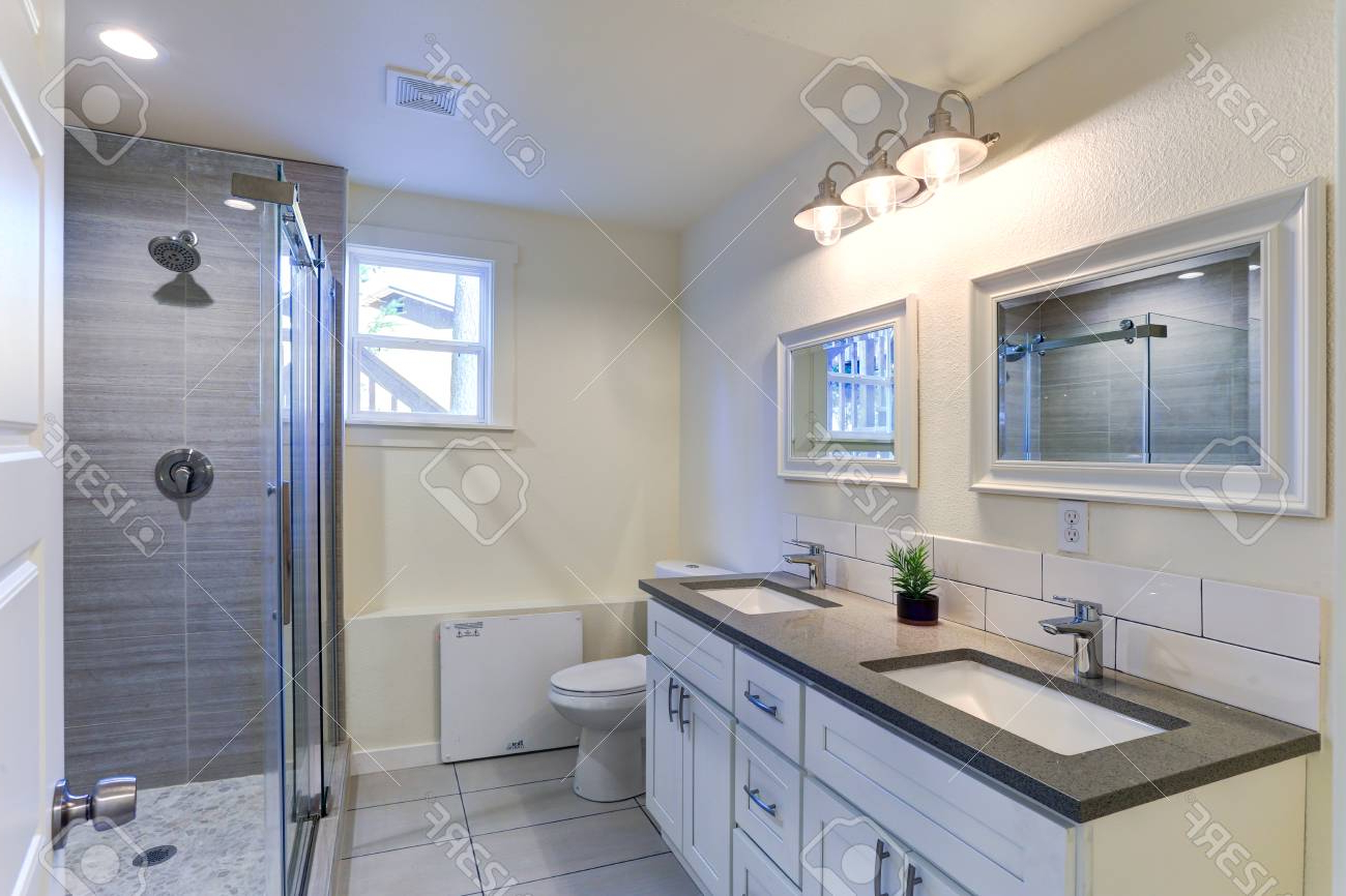 Bathroom Vanity Wall Mirrors Within 2019 White Bathroom Vanity With Granite Top, Double Bath Sinks, Double. (View 17 of 20)
