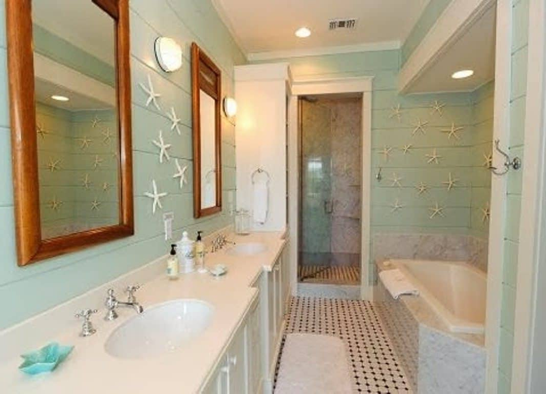 Bathroom With Framed Wall Mirrors And Starfish Accessories For Current Nautical Wall Mirrors (View 18 of 20)