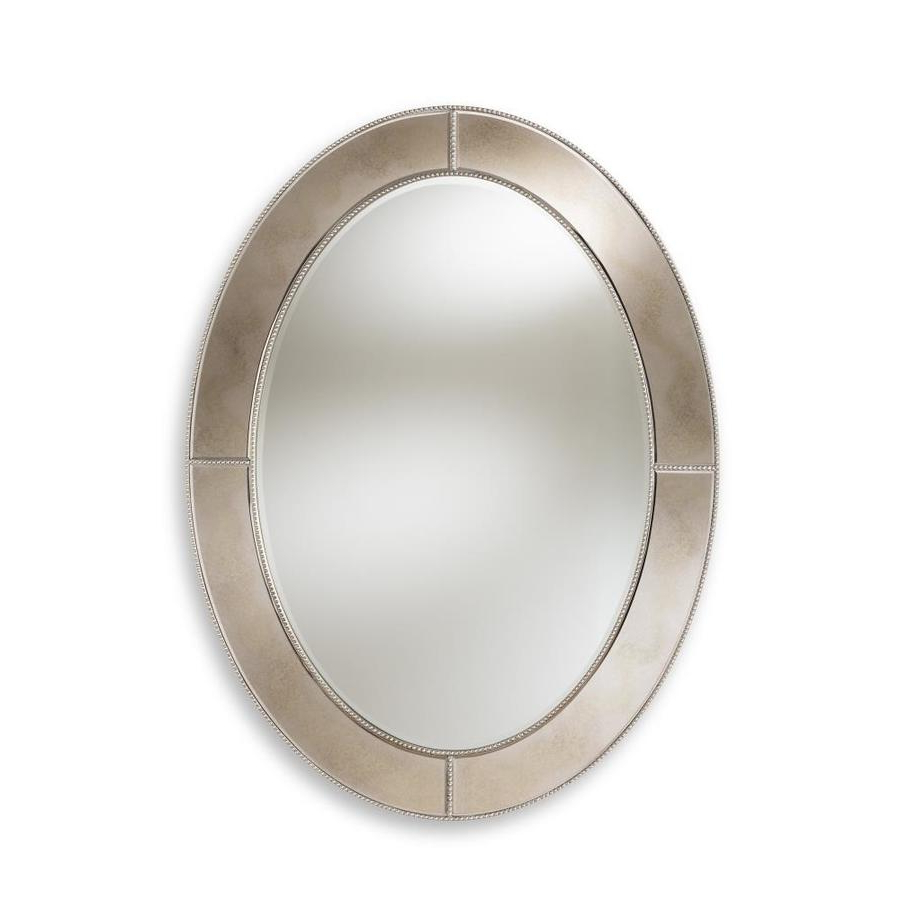 Baxton Studio Branca 48 In L X 36 In W Oval Silver Framed Wall In Best And Newest Silver Oval Wall Mirrors (View 4 of 20)