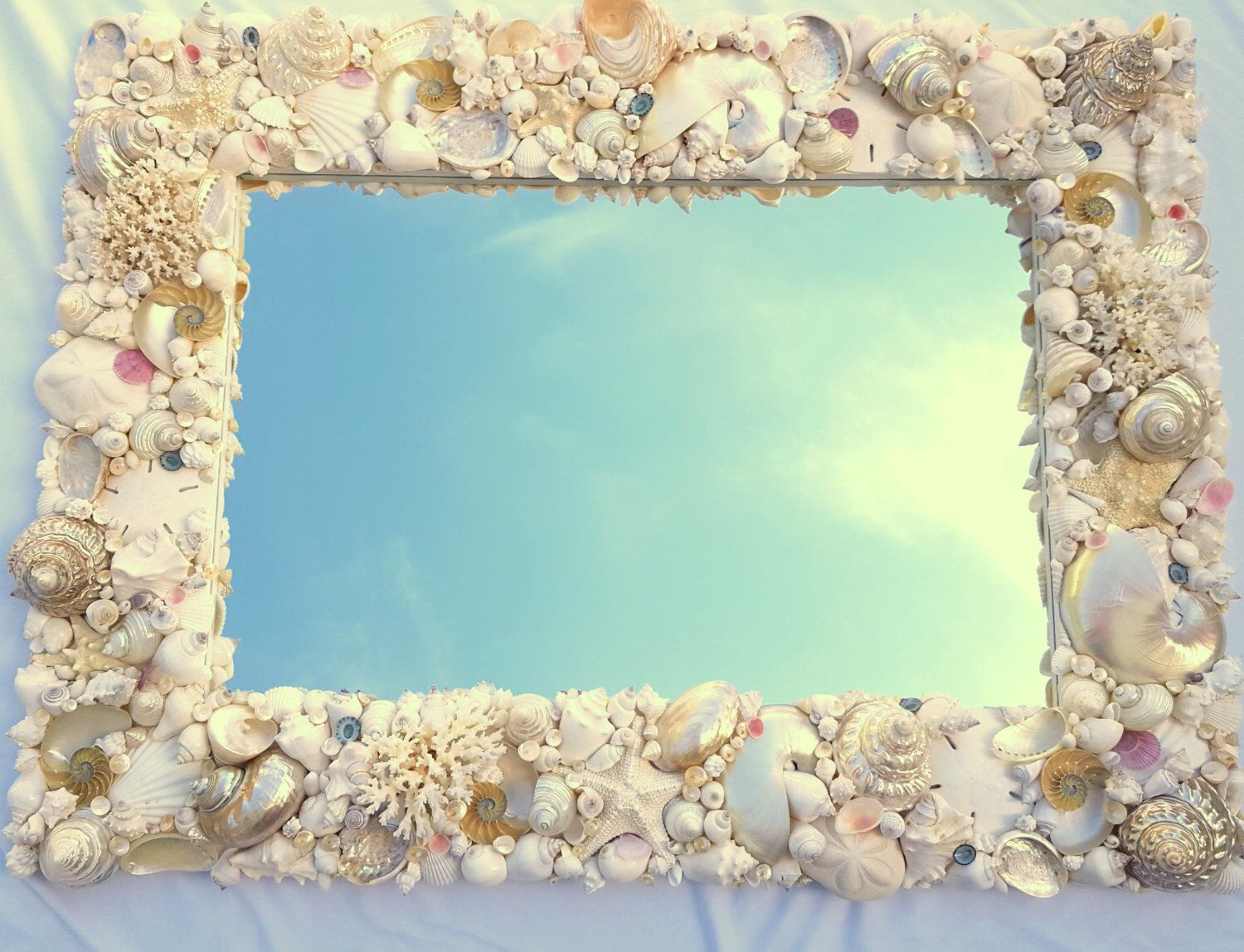 Beach Decor Seashell Mirror, Nautical Decor Custom Shell Mirror Regarding 2019 Seashell Wall Mirrors (View 3 of 20)