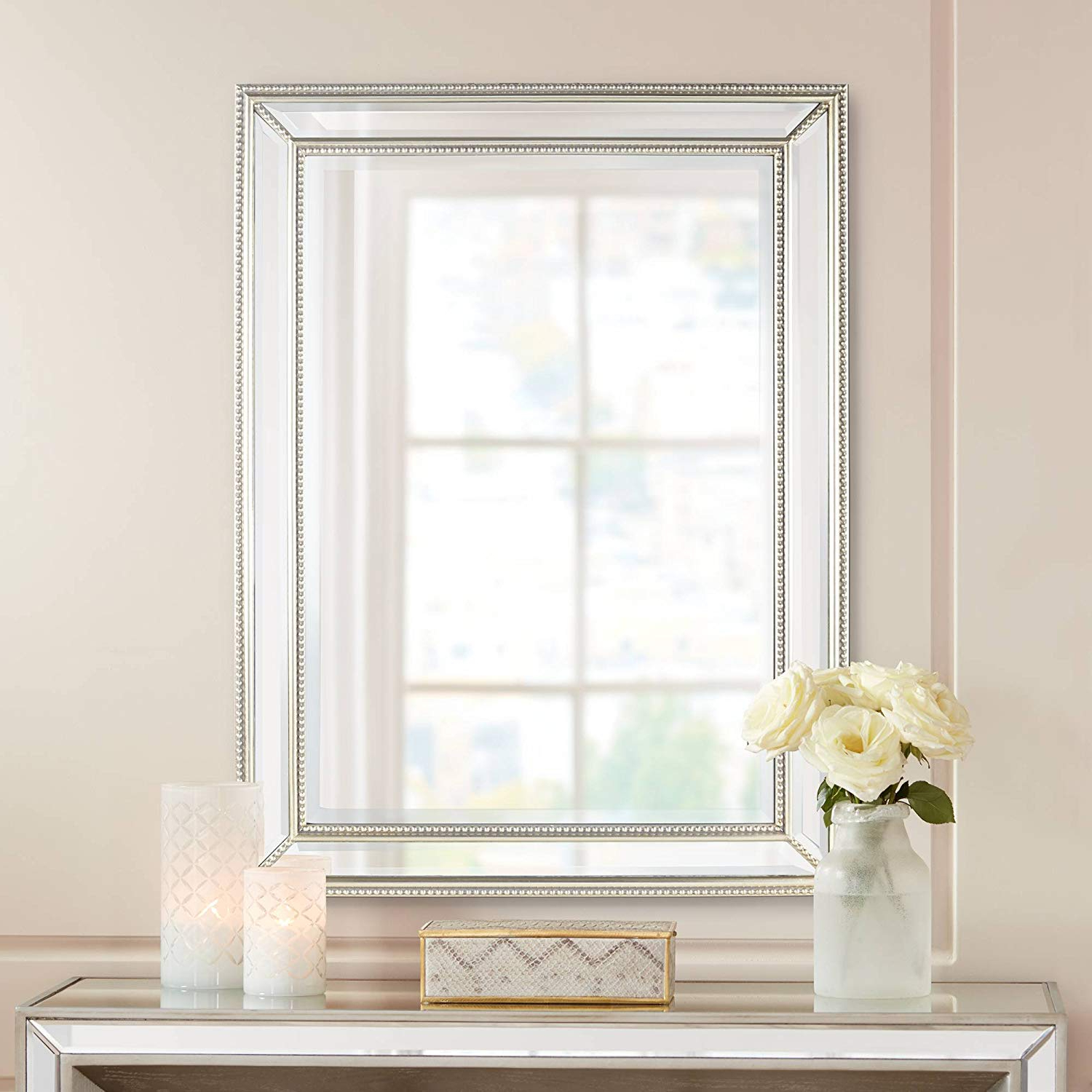 """Beaded Accent Wall Mirrors Within 2019 Uttermost Palais Beaded 30"""" X 40"""" Silver Wall Mirror (View 6 of 20)"""