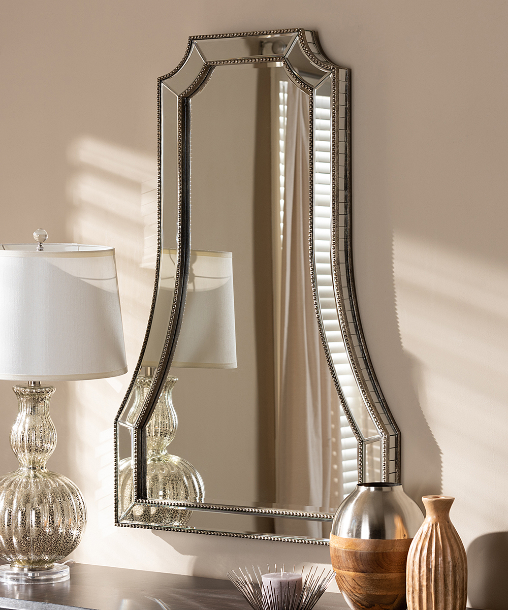 Beaded Accent Wall Mirrors Within Latest Baxton Studio Antique Silver Sanna Wall Mirror (View 7 of 20)