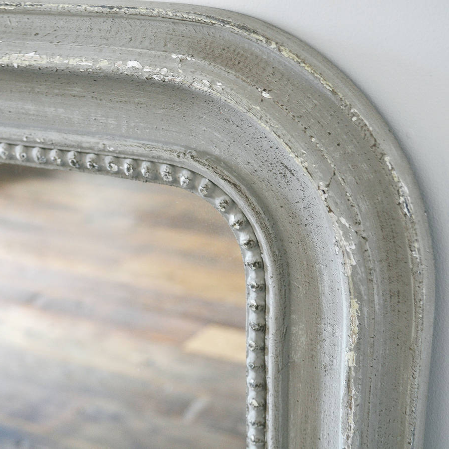 Beaded Wall Mirror White Or Grey Regarding Latest Gray Wall Mirrors (View 17 of 20)