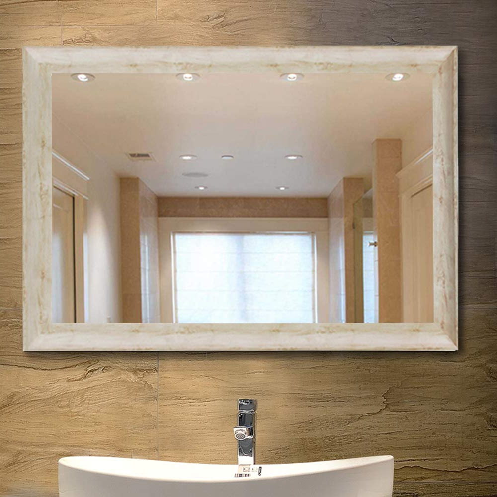 Bedroom Wall Mirrors Throughout 2019 Neutype Large Bathroom Mirrors Wall Mounted Mirrors For Bathroom Bedroom Living Room,white Wood Grain Vanity Mirror,high Polymer Material (View 12 of 20)