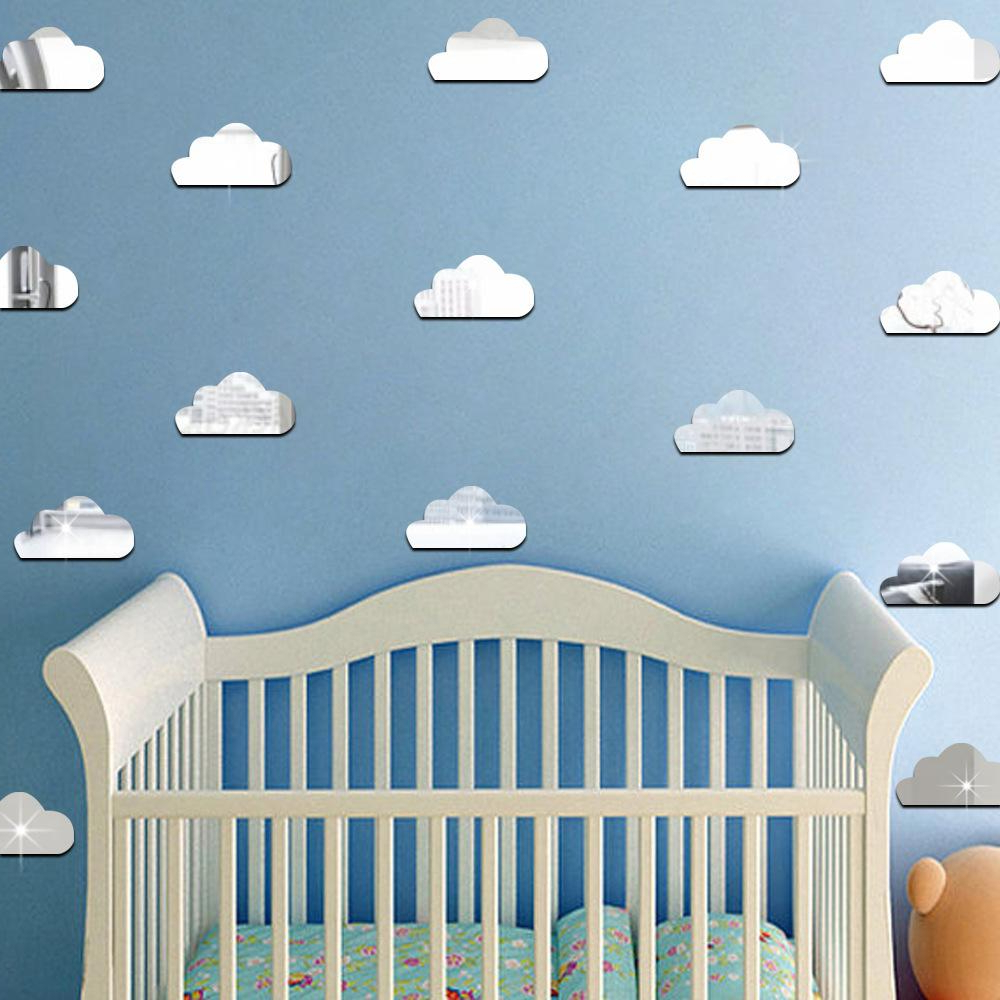 Best And Newest 10pcs/set Acrylic Mirror Cartoon Clouds Wall Stickers For Kids Rooms Baby Nursery Wall Decal Wedding Decor Diy Art Mural Poster Intended For Nursery Wall Mirrors (View 19 of 20)