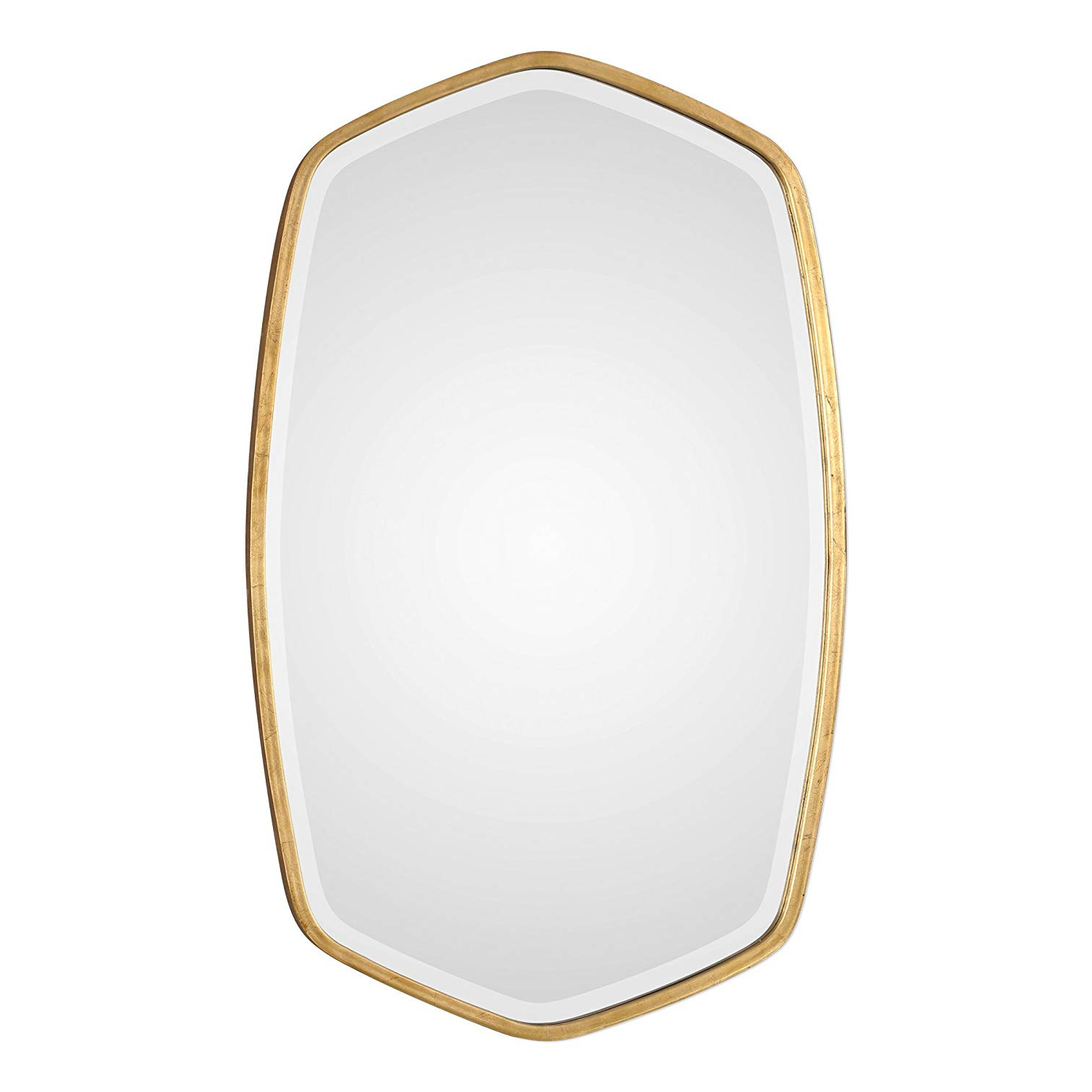 Best And Newest Amazon: My Swanky Home Elegant Curved Gold Oval Hexagon With Thin Wall Mirrors (View 3 of 20)