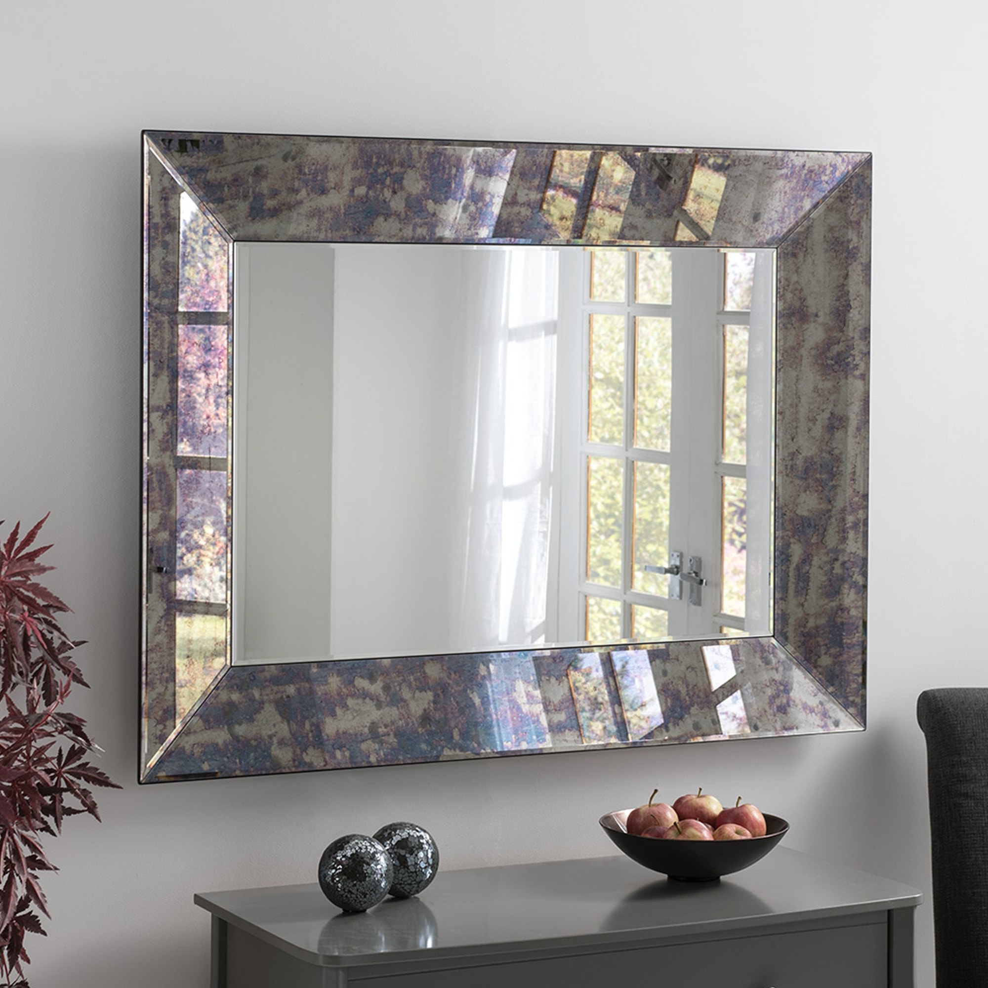 Best And Newest Antiqued Wall Mirrors Throughout Antiqued Blue Tinted Mirror (View 9 of 20)