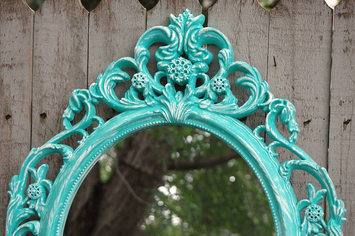 Best And Newest Aqua Wall Mirrors Within Shabby Chic Mirror, Wall Mirror, Baroque Mirror, Aqua, Turquoise, Blue, White, Oval, Upcycled, Ornate, Wedding Decor, Painted Mirror (View 7 of 20)