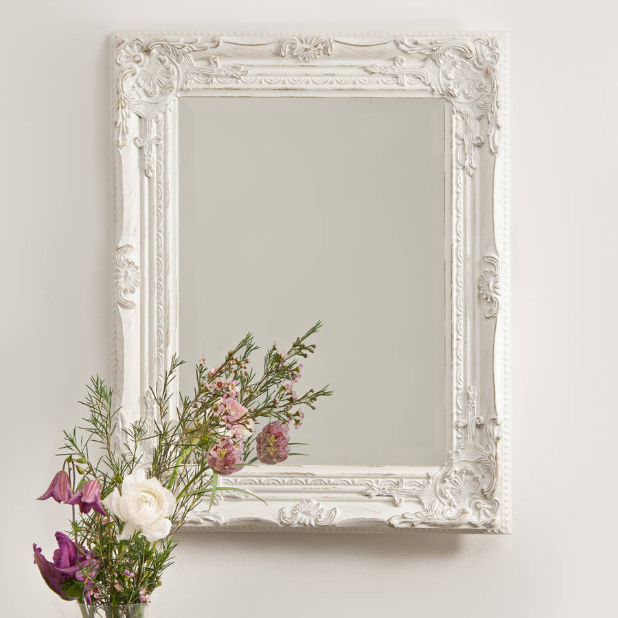 Best And Newest Beautifull Distressed Vintage Style Wall Mirror For White Framed Wall Mirrors (View 7 of 20)