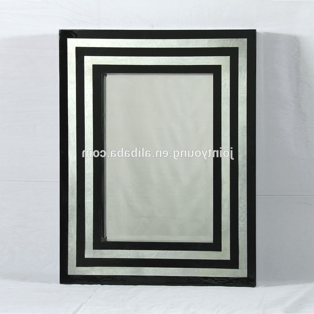 Best And Newest Black Framed Wall Mirrors Regarding Modern Wood Framed Wall Mirror With Silver Foil / Black Stripe Painting, View Framed Wall Mirror, Joint Young Product Details From Fuzhou Joint Young (View 13 of 20)