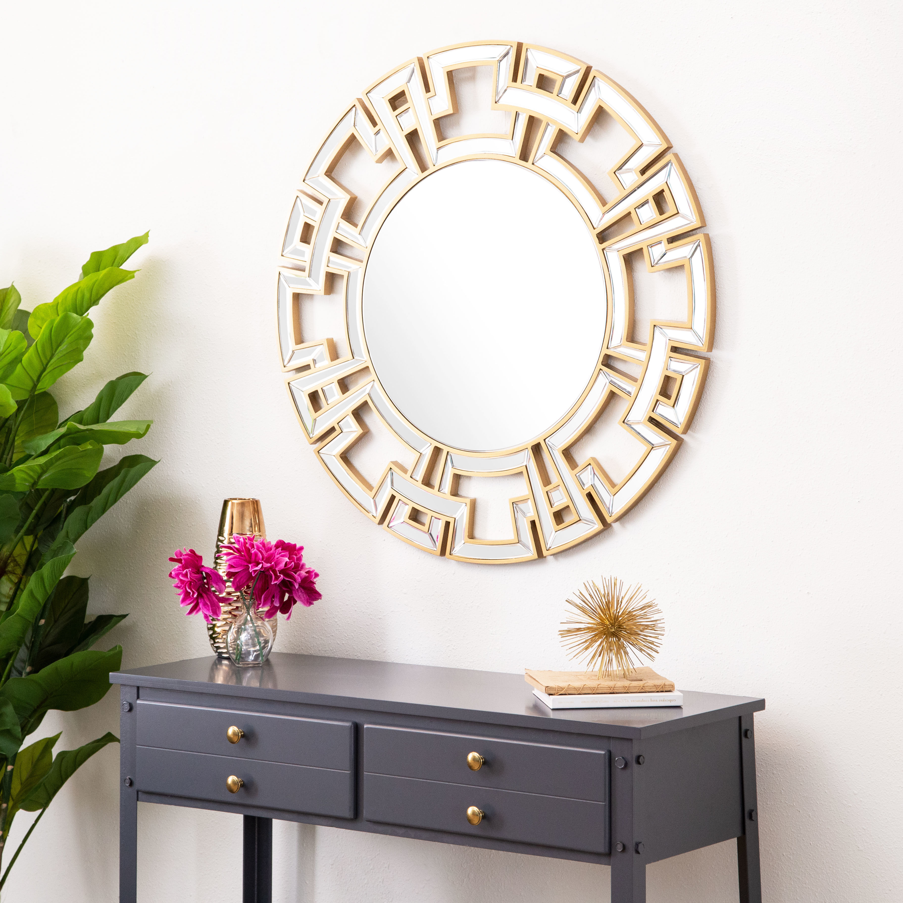 Best And Newest Caja Rectangle Glass Frame Wall Mirrors With Regard To Tata Openwork Round Wall Mirror (View 18 of 20)