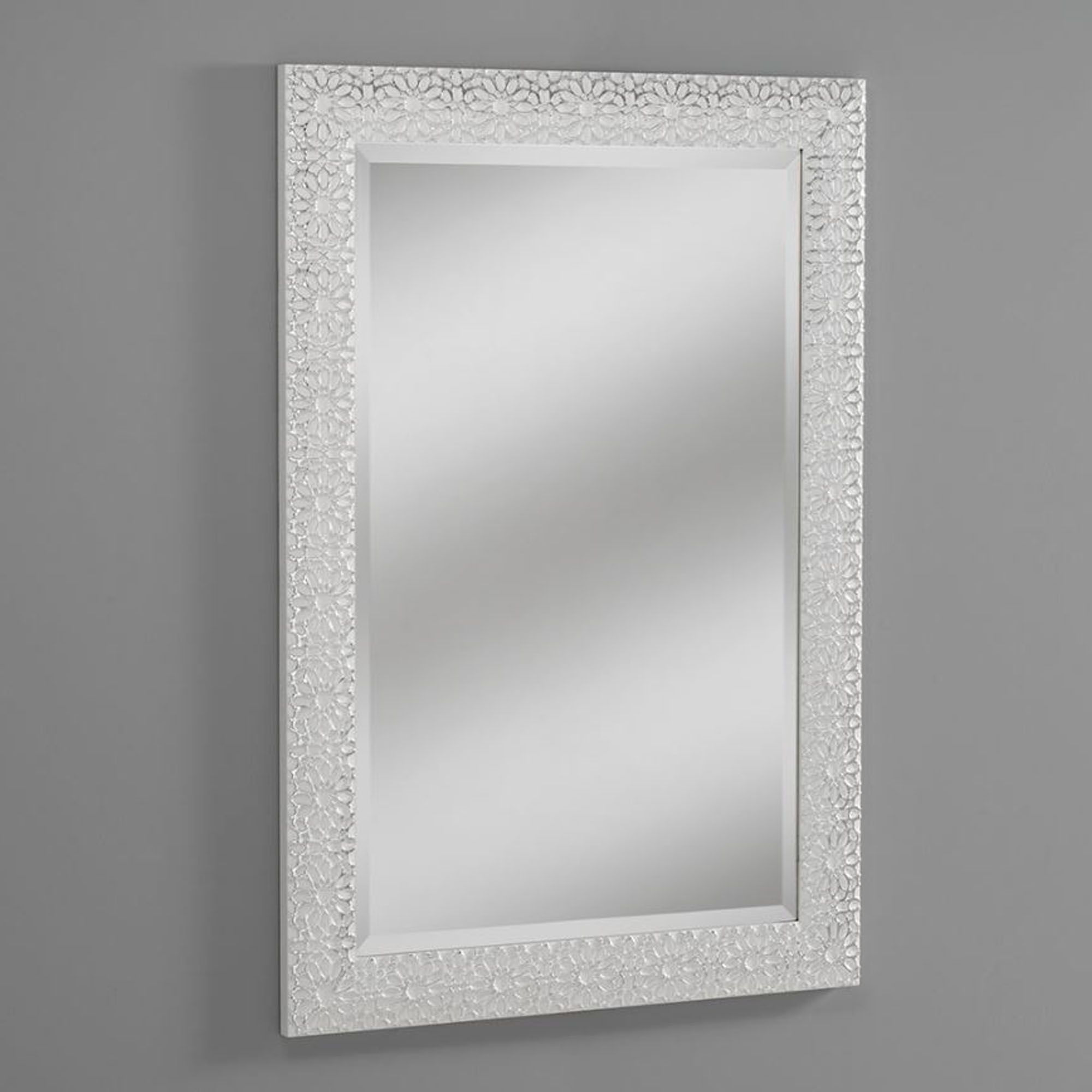 Best And Newest Decorative Bathroom Wall Mirrors With Regard To Petal White Decorative Wall Mirror (View 2 of 20)