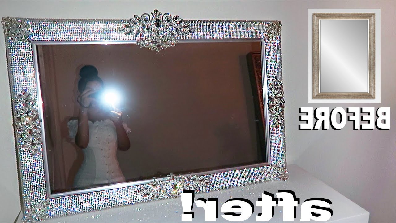 Best And Newest Diy Rhinestone Vanity Mirror! Throughout Glitter Wall Mirrors (View 9 of 20)