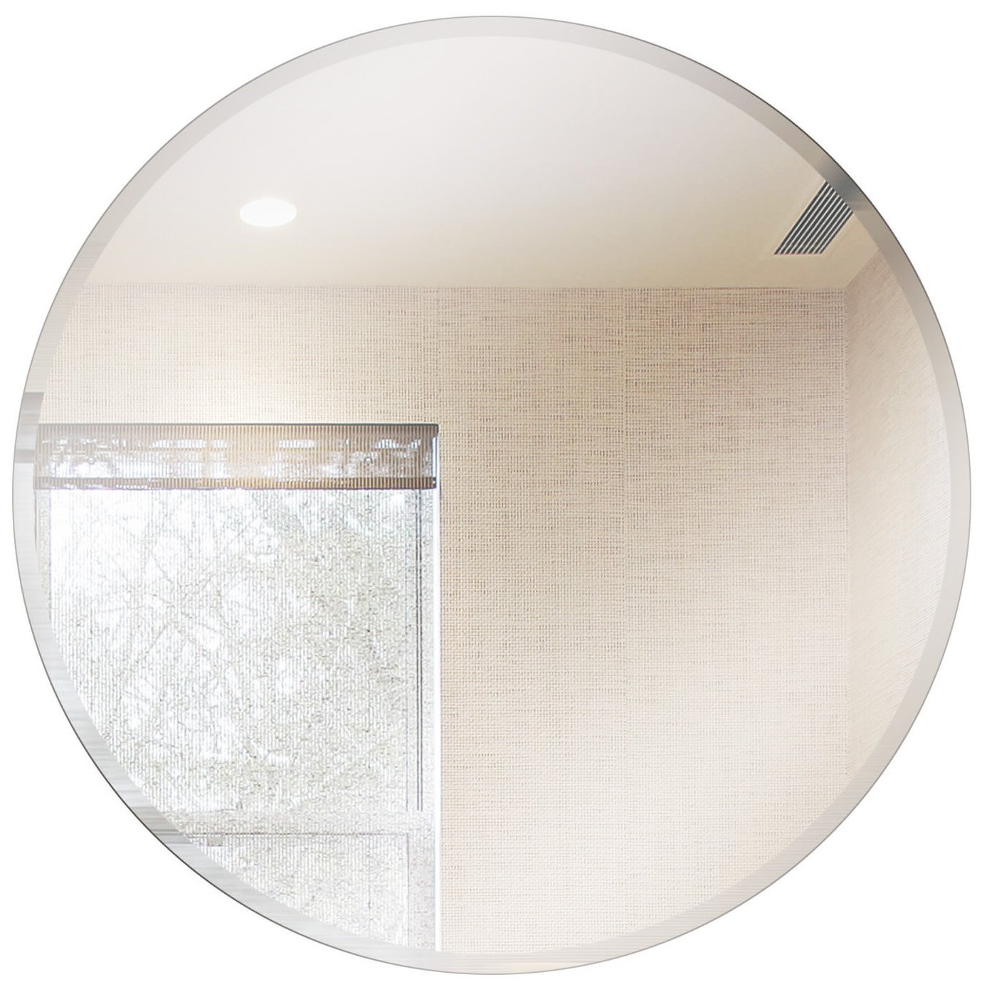 "Best And Newest Fab Glass And Mirror Round Beveled Polished Frameless Wall Mirror With  Hooks 18"" Inch Silver With Regard To Frameless Round Wall Mirrors (View 5 of 20)"