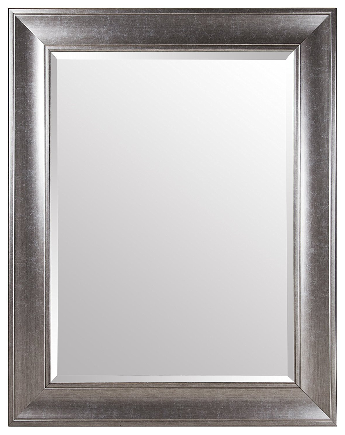 Best And Newest Gallery Solutions Large 39x49 Beveled Wall Mirror With Brushed Nickel Frame Intended For Brushed Nickel Wall Mirrors (View 2 of 14)