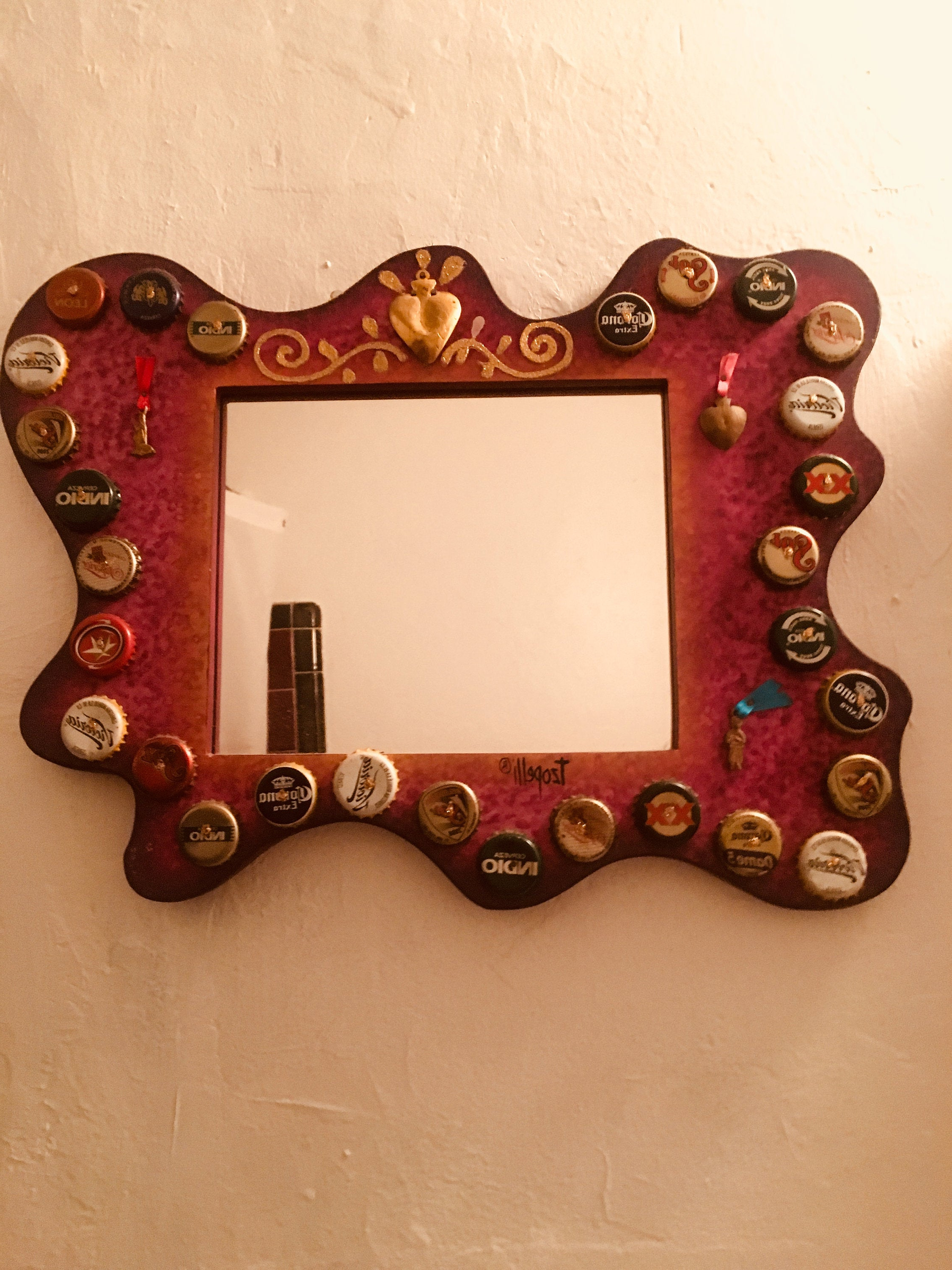 Best And Newest Hand Painted Bottle Cap And Milagro Wooden Frame Mirror Pertaining To Mexican Wall Mirrors (View 13 of 20)